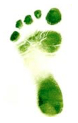 Green coloured left foot